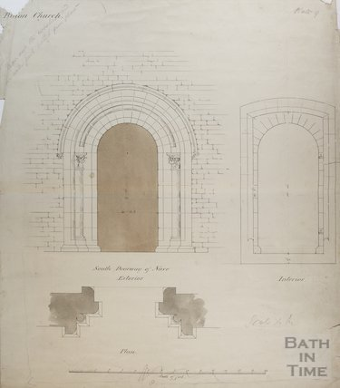 Architectural drawing of south doorway of knave of St Mary's Church Bitton, 1825?