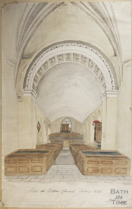 Watercolour of interior of St Mary's Bitton by H.T. Ellacombe, 1842
