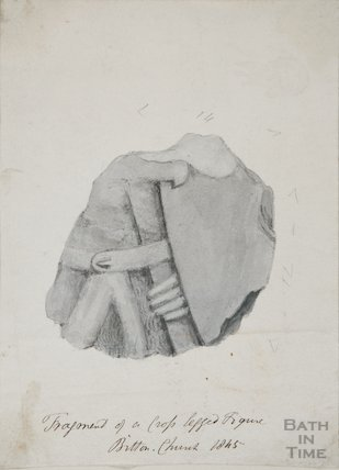 Fragments of stone found in the church yard St Mary's Bitton, 1845