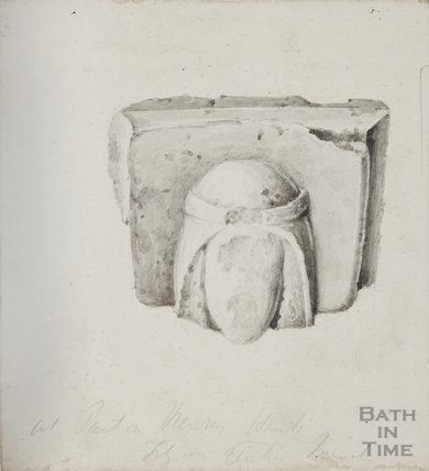 Fragments of stone found in the church yard St Mary's Bitton (pen and wash sketch), 1826-45