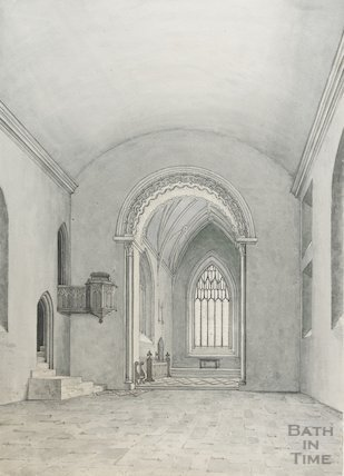 Interior of St Mary's Church Bitton prior to, 1846