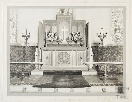 Photo of altar at St Anne's Church, Oldland early 20thc
