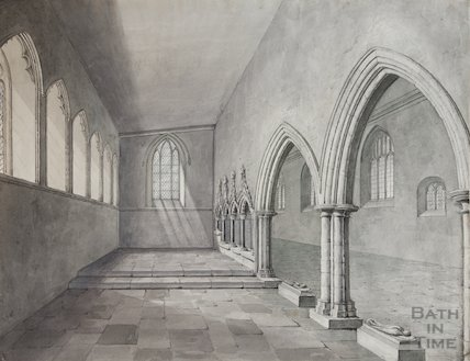 Pen and wash drawing of Lady Chapel (Newton Aisle) St Mary's Bitton prior to, 1820