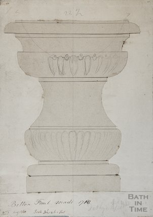 Font of St Mary's Church Bitton - Architectural drawing, 1840