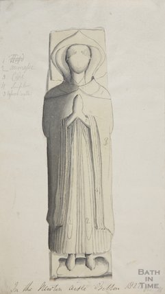 Effigy one of two Chantry Priests St Mary's Church Bitton, 1822