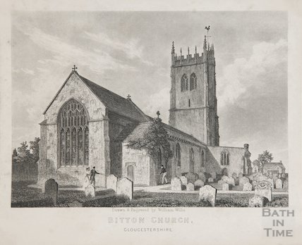 St Mary's Church Bitton from N.E., 1843
