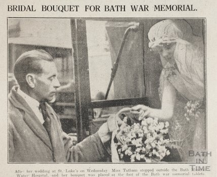 Bridal Bouquet for Bath War Memorial, Union Street, Bath, 1923