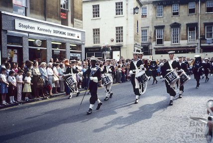 Sea Cadets parade in New Bond Street, Bath, c.1970s