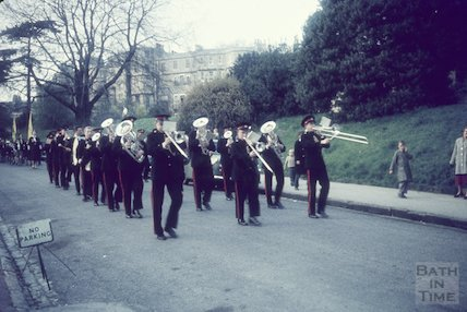 Salvation Army and Cubs Parade, Royal Avenue, Royal Victoria Park, Bath, c.1970s