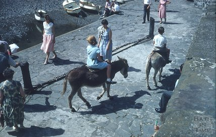 Donkey rides in Clovelly, North Devon, c.1959