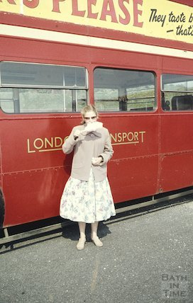 Candy Floss and a red London Bus, Southsea, 17 May 1959