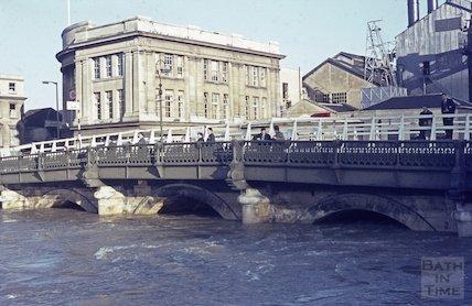 Floods at the Old Bridge, Bath, c.1960