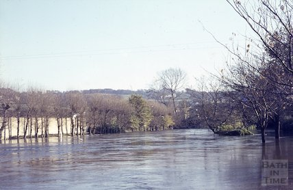 The flooded River Avon, Bath, c.1963