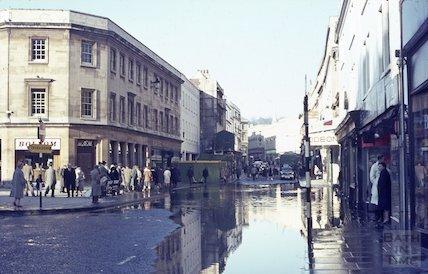Flooded Southgate Street, Bath, c.1963