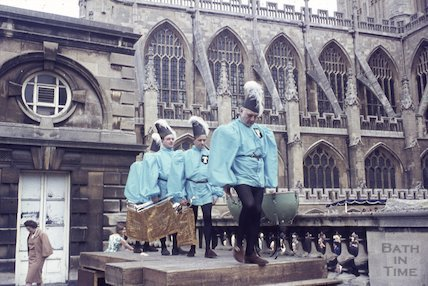 Bugle players at the Roman Baths at the Bath Festival, 1965