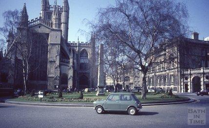 A mini on the roundabout at Orange Grove, Bath, c.1965