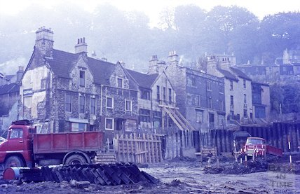 The demolition of Holloway and construction of the new junction with Wellsway, Bath, c.1965