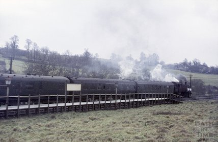 A steam train at Midsomer Norton railway station, c.1965