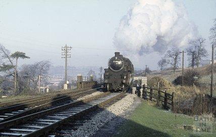 Engine no. 73006 on the Somerset & Dorset railway near Midsomer Norton, c.1965