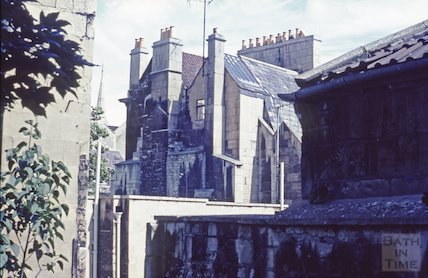 The rear of 9 Abbey Green, Bath, c.1965