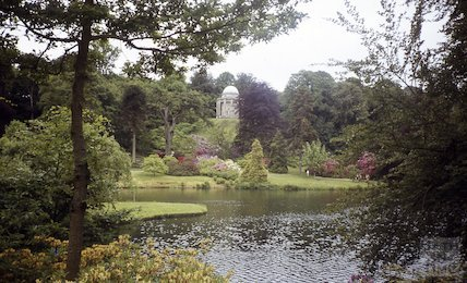 View across the lake to the Temple of Apollo, Stourhead, Wilts, c.1970s