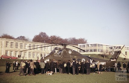 Royal Navy helicopter visiting Beechen Cliff School, Bath, c.1970s