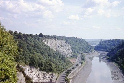 View down the Portway, Bristol towards Clifton Suspension Bridge, c.1960s