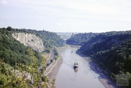 View down the Avon Gorge, Bristol towards Clifton Suspension Bridge, c.1960s