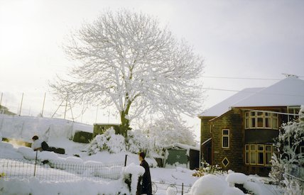 The last house at the top of Kipling Avenue before Beechen Cliff School in the snow, c.1963