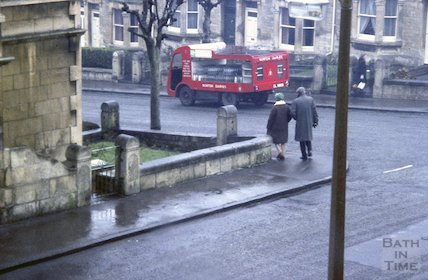 View fom the window of 4 Chaucer Road, Bath, with Norton Dairies milk float in the background, c.1960s