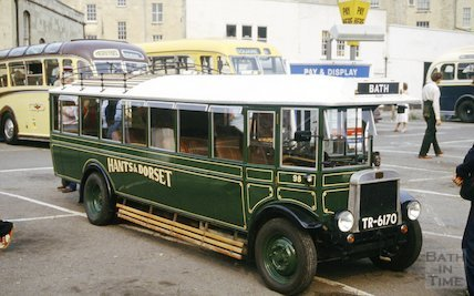 A Hants & Dorset vintage bus at a rally in Bath, c.1980s