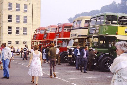 Vintage bus rally in Avon Street car park, Bath, c.1980s