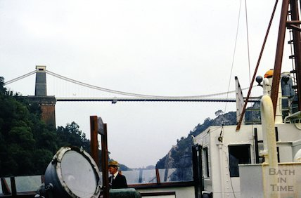 Sailing under the Clifton Suspension Bridge on the Avon Gorge, Bristol, c.1960s