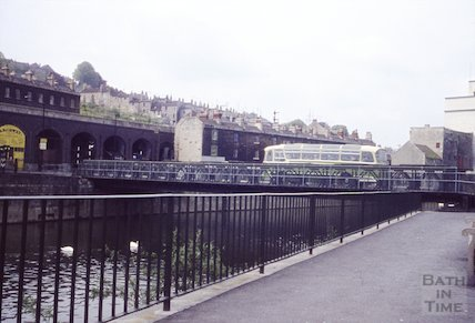 Bus crossing the temporary Bailey Bridge, Bath, 1964