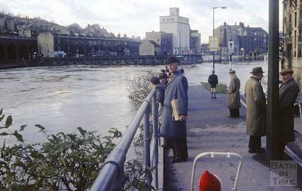 The flooded River Avon at Broad Quay, 1964
