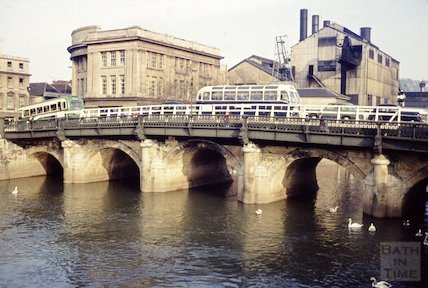 The Old Bridge, Bath with Electricity House and power station in the background, c.1960s