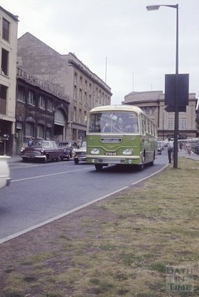A Frames Tour Bus approaches Broad Quay, Bath, c.1960s