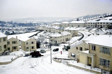 Snowplough at Fairfield Park, Larkhall, Bath in the snow, 1963
