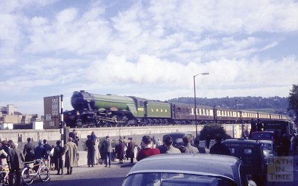 4472 Flying Scotsman passing through Bath, 19 October 1963