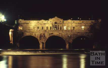 Pulteney Bridge and weir illuminated at night, c.1960s
