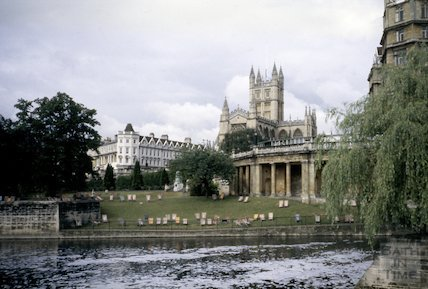 Parade Gardens and deckchairs, viewed across the River Avon, c.1960s