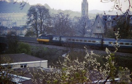An Intercity 125 train passing the site of Lime Grove School, Bath, c.1980s