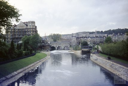 View down the River Avon from North Parade Bridge, Bath, c.1972