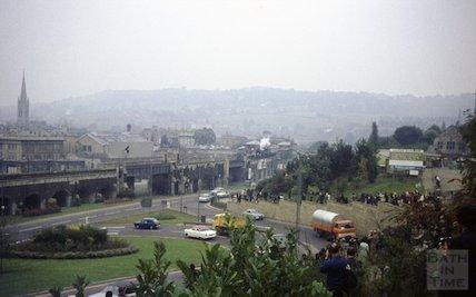 Awaiting the arrival of a steam train, Bath, c.1967