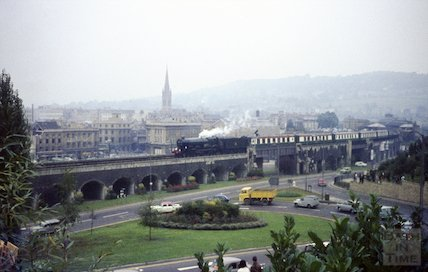 A steam train crossing the viaduct at Bath, c.1967