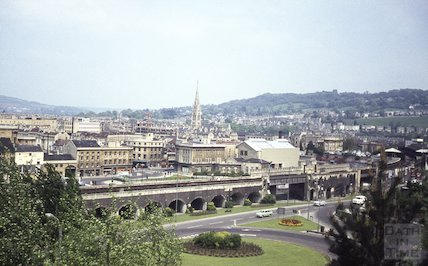 View of Bath looking over the roundabout on the Wells Road towards Churchill House, c.1967