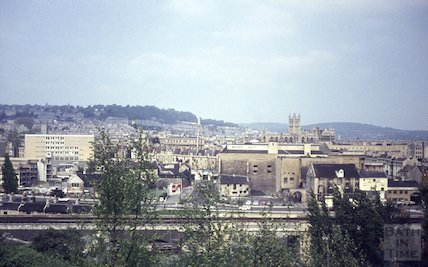 View of Bath looking over the roundabout on the Wells Road towards Broad Quay, c.1967