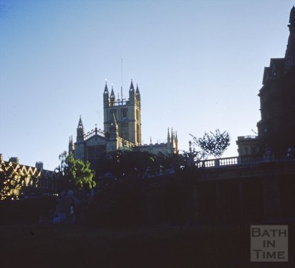 Shady view of Bath Abbey from Parade Gardens, c.1970s