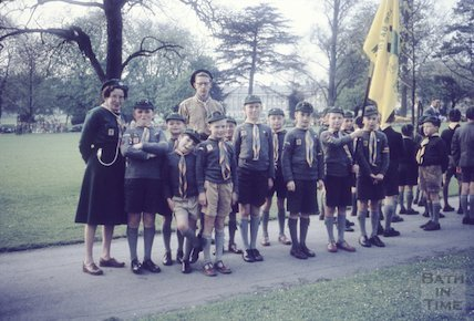 Boy scout group (cubs?) with the Royal Crescent in the distant background, 1960s