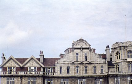 The distinctive gables on the Empire Hotel, 29 April 1959